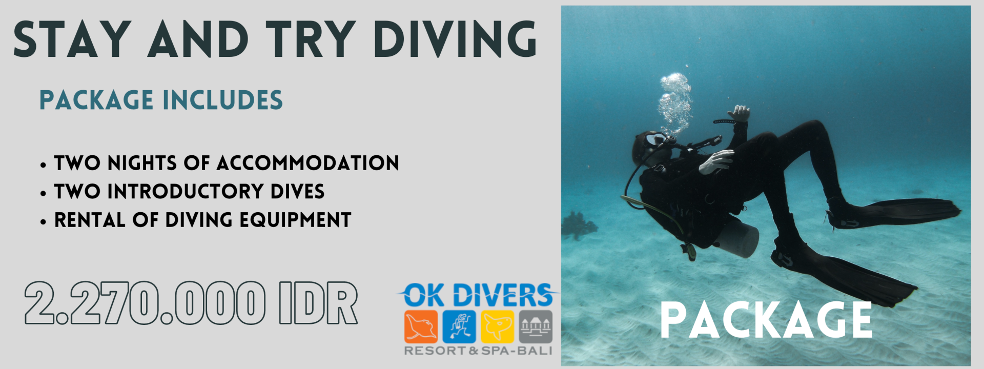 Stay and try diving package